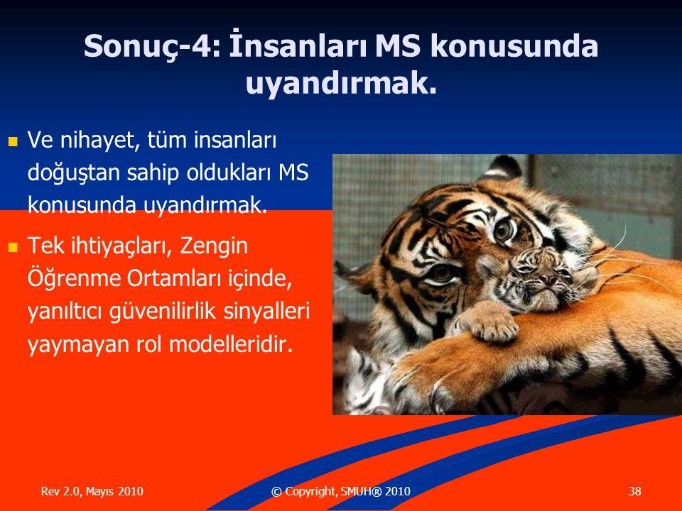Rev 2.0, Mayıs 2010 38© Copyright, SMUH® 2010 Sonuç-4: İnsanları MS konusunda uyandırmak.