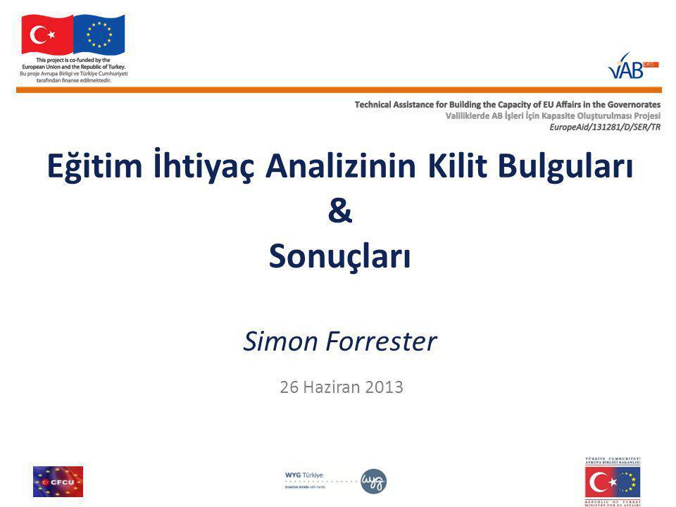 Eğitim İhtiyaç Analizinin Kilit Bulguları & Sonuçları Simon Forrester 26 Haziran 2013