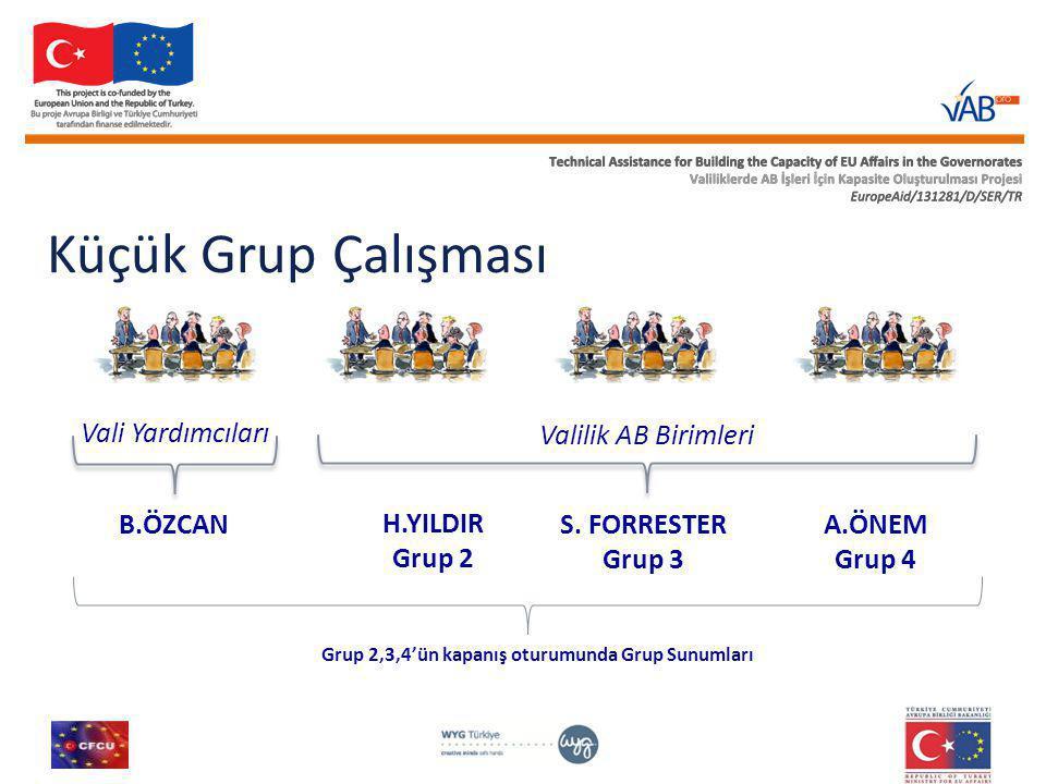 Küçük Grup Çalışması Vali Yardımcıları Valilik AB Birimleri B.ÖZCAN H.YILDIR Grup 2 S.