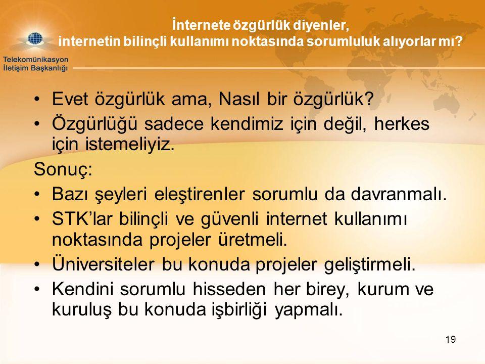19 İnternete özgürlük diyenler, internetin bilinçli kullanımı noktasında sorumluluk alıyorlar mı? •Evet özgürlük ama, Nasıl bir özgürlük? •Özgürlüğü s