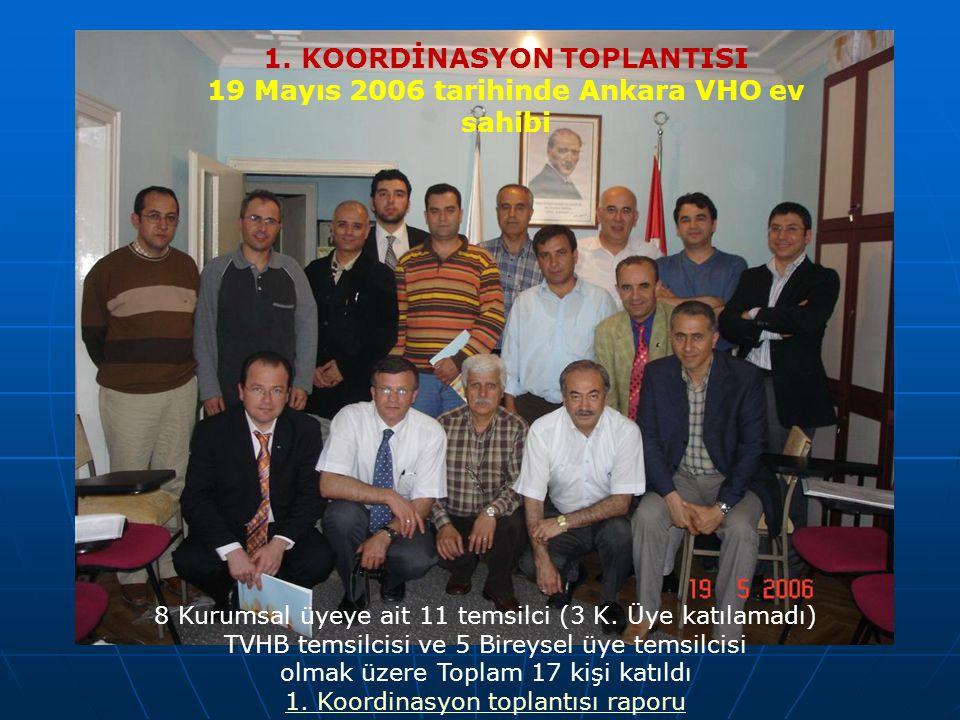 8 Kurumsal üyeye ait 11 temsilci (3 K. Üye katılamadı) TVHB temsilcisi ve 5 Bireysel üye temsilcisi olmak üzere Toplam 17 kişi katıldı 1. Koordinasyon
