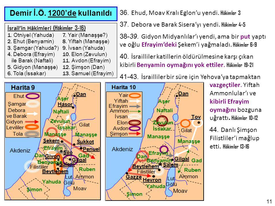 11 Demir İ.Ö.1200'de kullanıldı İsrail'in Hâkimleri (Hâkimler 3-16) 1.