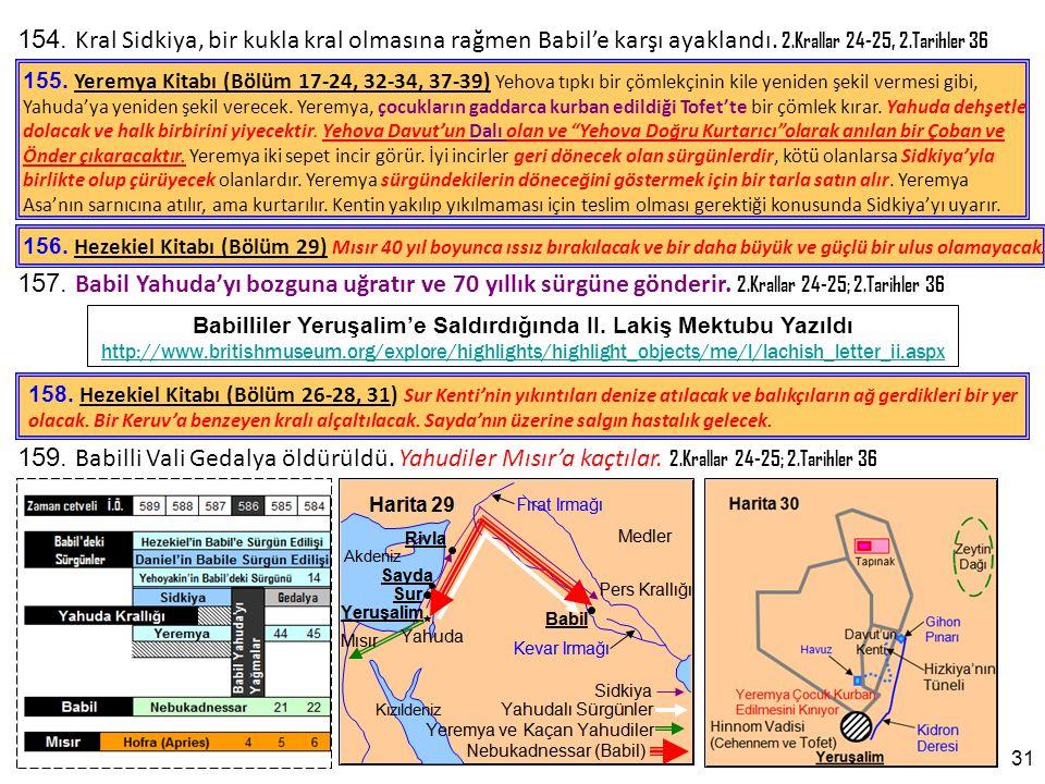 154.Kral Sidkiya, bir kukla kral olmasına rağmen Babil'e karşı ayaklandı.