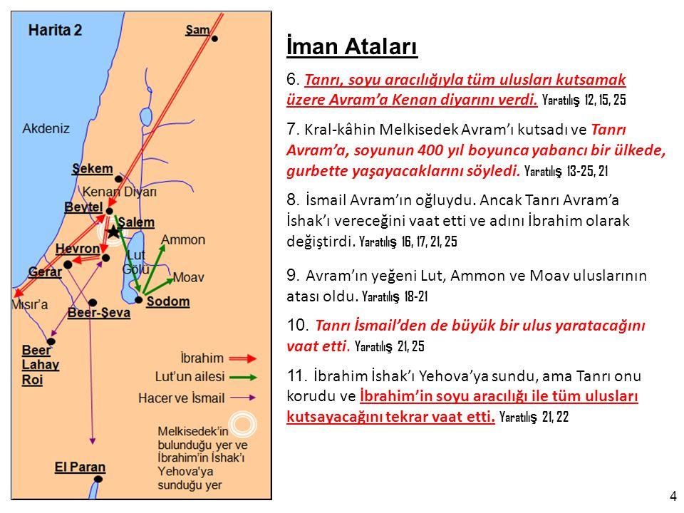 İman Ataları 6.Tanrı, soyu aracılığıyla tüm ulusları kutsamak üzere Avram'a Kenan diyarını verdi.