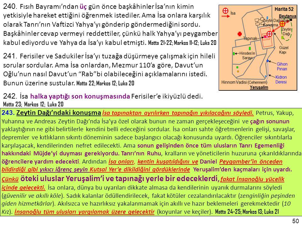 243.Zeytin Dağı'ndaki konuşma İsa tapınaktan ayrılırken tapınağın yıkılacağını söyledi.