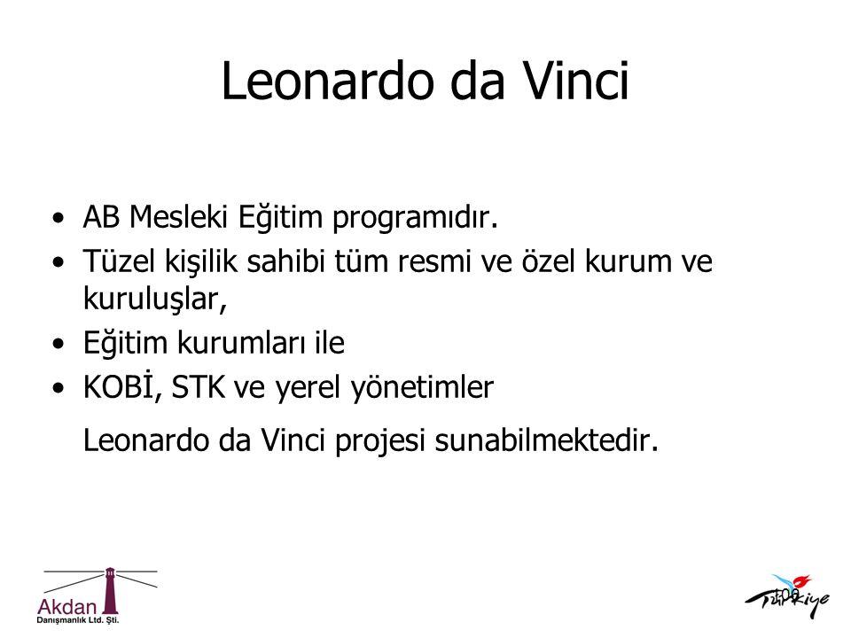 106 Leonardo da Vinci •AB Mesleki Eğitim programıdır. •Tüzel kişilik sahibi tüm resmi ve özel kurum ve kuruluşlar, •Eğitim kurumları ile •KOBİ, STK ve
