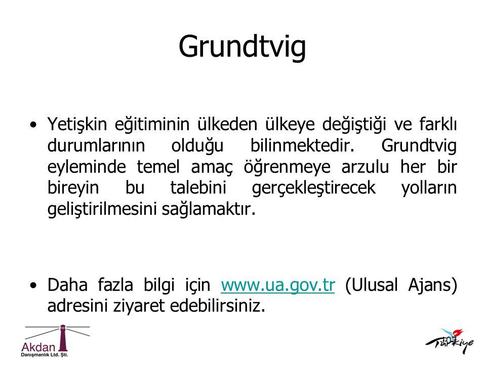 107 Grundtvig •Yetişkin eğitiminin ülkeden ülkeye değiştiği ve farklı durumlarının olduğu bilinmektedir. Grundtvig eyleminde temel amaç öğrenmeye arzu