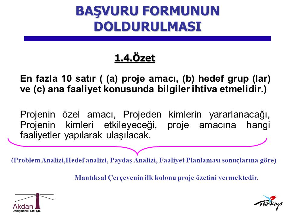 171 1.4.Özet En fazla 10 satır ( (a) proje amacı, (b) hedef grup (lar) ve (c) ana faaliyet konusunda bilgiler ihtiva etmelidir.) Projenin özel amacı,
