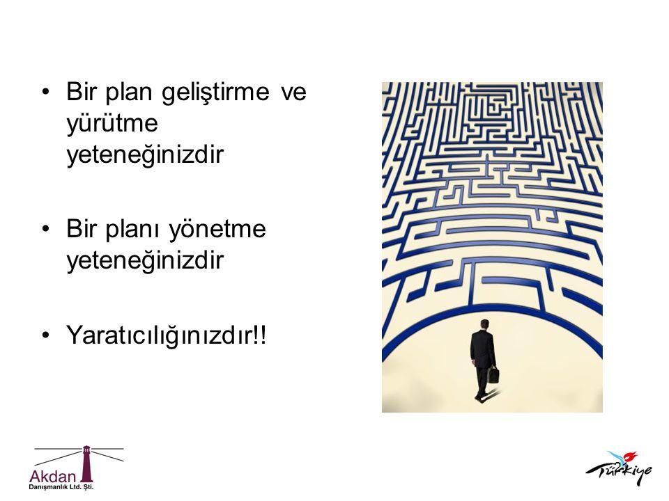 21 •Bir plan geliştirme ve yürütme yeteneğinizdir •Bir planı yönetme yeteneğinizdir •Yaratıcılığınızdır!!