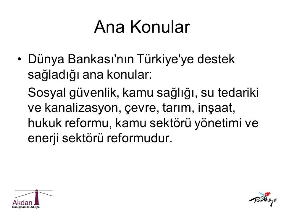 36 Ana Konular •Dünya Bankası'nın Türkiye'ye destek sağladığı ana konular: Sosyal güvenlik, kamu sağlığı, su tedariki ve kanalizasyon, çevre, tarım, i