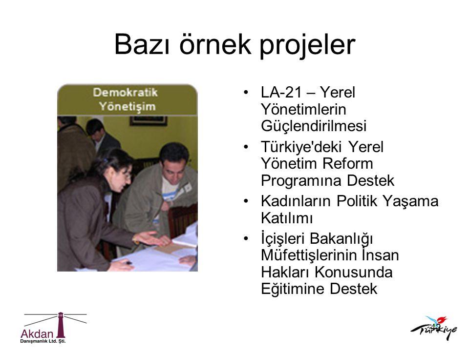 42 Bazı örnek projeler •LA-21 – Yerel Yönetimlerin Güçlendirilmesi •Türkiye'deki Yerel Yönetim Reform Programına Destek •Kadınların Politik Yaşama Kat