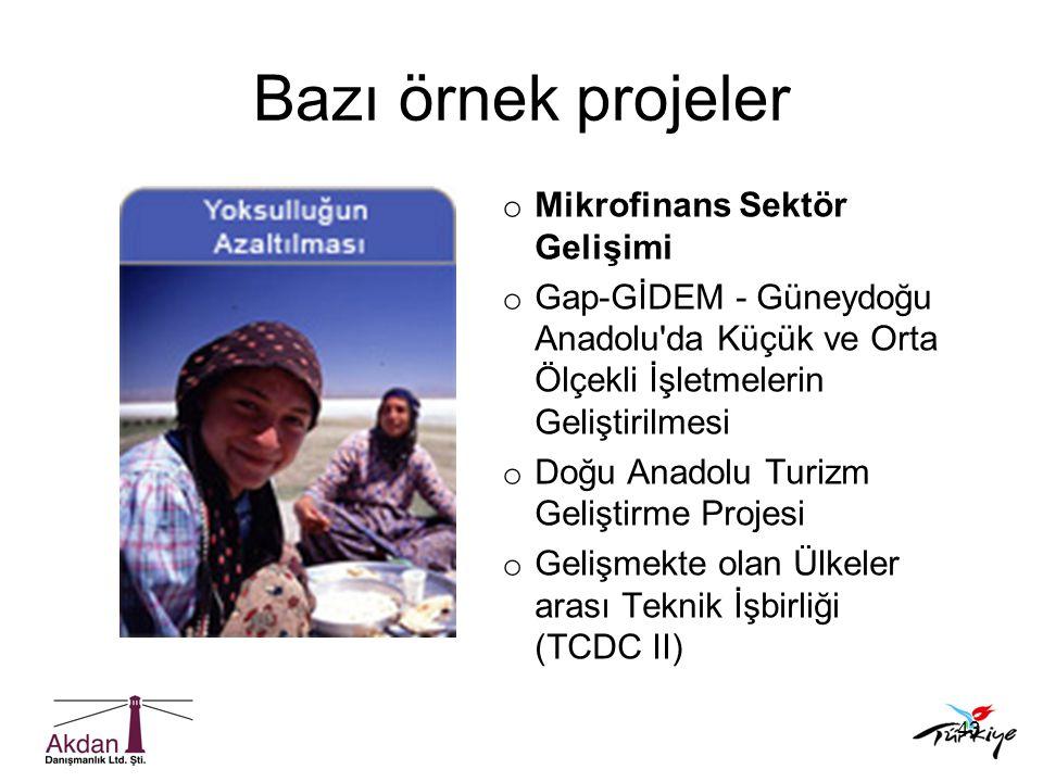 43 o Mikrofinans Sektör Gelişimi o Gap-GİDEM - Güneydoğu Anadolu'da Küçük ve Orta Ölçekli İşletmelerin Geliştirilmesi o Doğu Anadolu Turizm Geliştirme