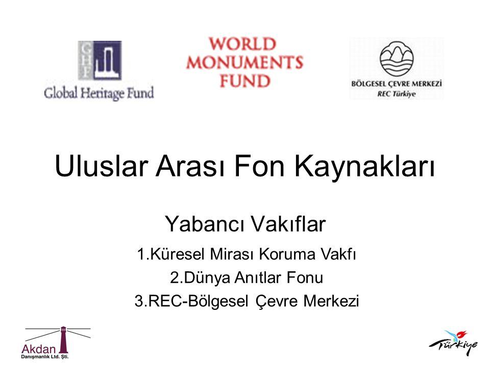 Uluslar Arası Fon Kaynakları Yabancı Vakıflar 1.Küresel Mirası Koruma Vakfı 2.Dünya Anıtlar Fonu 3.REC-Bölgesel Çevre Merkezi