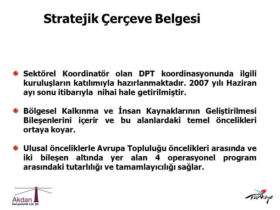 70 Sektörel Koordinatör olan DPT koordinasyonunda ilgili kuruluşların katılımıyla hazırlanmaktadır. 2007 yılı Haziran ayı sonu itibarıyla nihai hale g