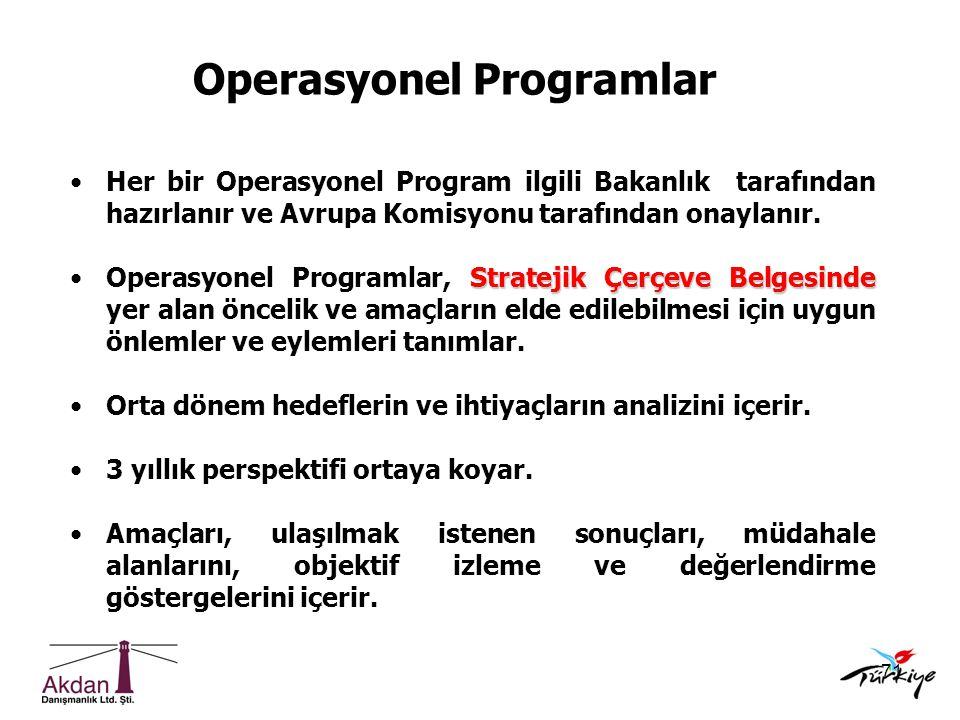71 Operasyonel Programlar •Her bir Operasyonel Program ilgili Bakanlık tarafından hazırlanır ve Avrupa Komisyonu tarafından onaylanır. Stratejik Çerçe
