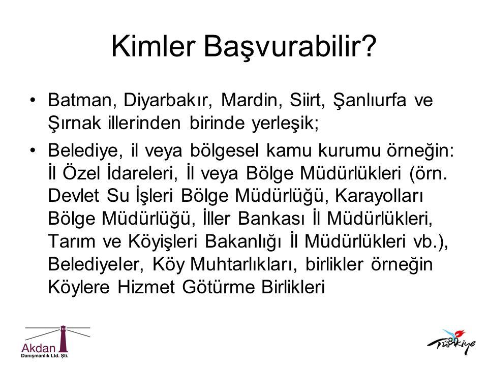 80 Kimler Başvurabilir? •Batman, Diyarbakır, Mardin, Siirt, Şanlıurfa ve Şırnak illerinden birinde yerleşik; •Belediye, il veya bölgesel kamu kurumu ö