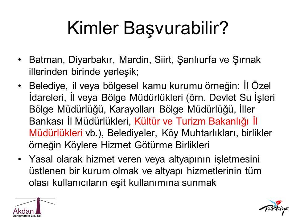 84 Kimler Başvurabilir? •Batman, Diyarbakır, Mardin, Siirt, Şanlıurfa ve Şırnak illerinden birinde yerleşik; •Belediye, il veya bölgesel kamu kurumu ö