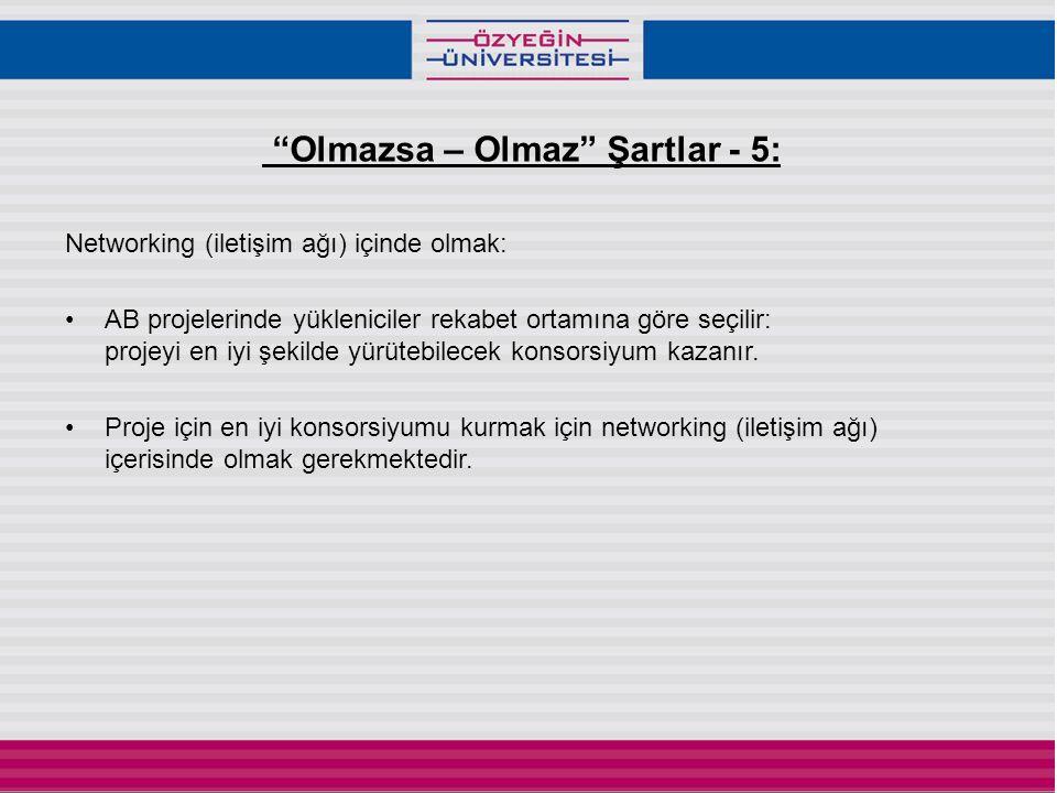 Olmazsa – Olmaz Şartlar - 5: Networking (iletişim ağı) içinde olmak: •AB projelerinde yükleniciler rekabet ortamına göre seçilir: projeyi en iyi şekilde yürütebilecek konsorsiyum kazanır.