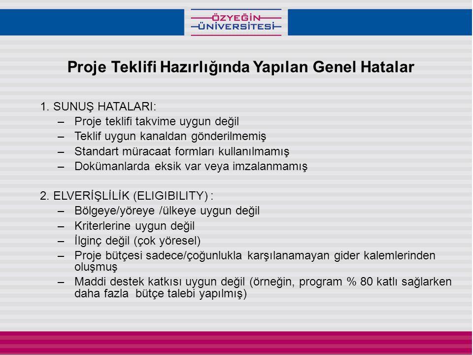 Proje Teklifi Hazırlığında Yapılan Genel Hatalar 1.