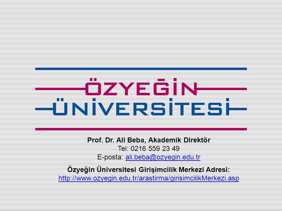 Prof. Dr. Ali Beba, Akademik Direktör Tel: 0216 559 23 49 E-posta: ali.beba@ozyegin.edu.trali.beba@ozyegin.edu.tr Özyeğin Üniversitesi Girişimcilik Me