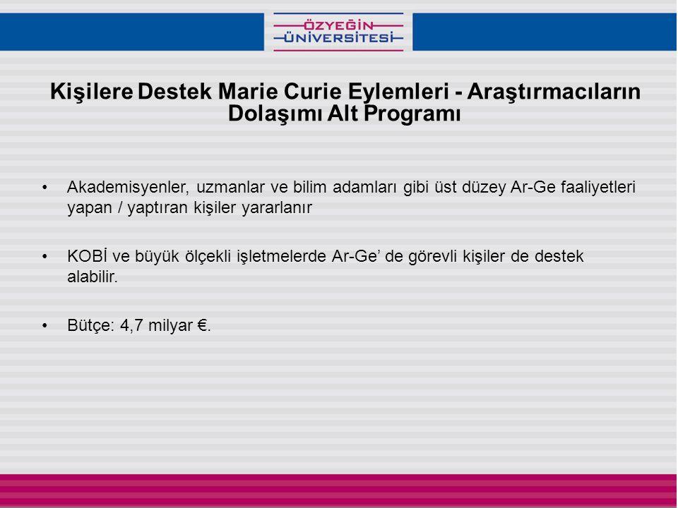 Kişilere Destek Marie Curie Eylemleri - Araştırmacıların Dolaşımı Alt Programı •Akademisyenler, uzmanlar ve bilim adamları gibi üst düzey Ar-Ge faaliyetleri yapan / yaptıran kişiler yararlanır •KOBİ ve büyük ölçekli işletmelerde Ar-Ge' de görevli kişiler de destek alabilir.