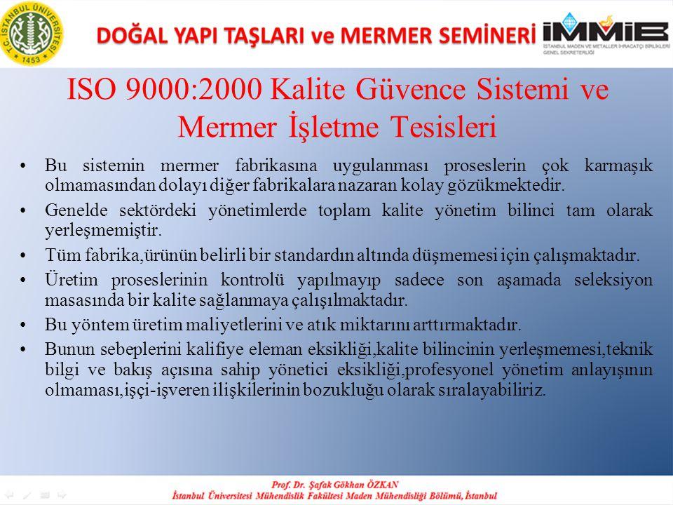 ISO 9000:2000 Kalite Güvence Sistemi ve Mermer İşletme Tesisleri •Bu sistemin mermer fabrikasına uygulanması proseslerin çok karmaşık olmamasından dol