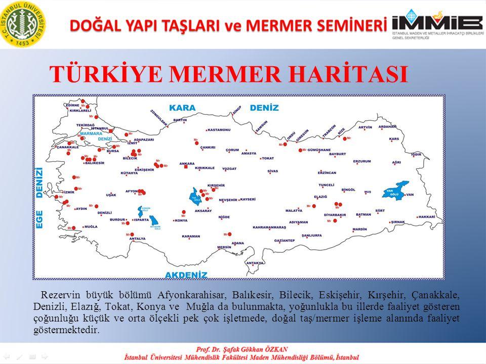 TÜRKİYE MERMER HARİTASI Rezervin büyük bölümü Afyonkarahisar, Balıkesir, Bilecik, Eskişehir, Kırşehir, Çanakkale, Denizli, Elazığ, Tokat, Konya ve Muğ