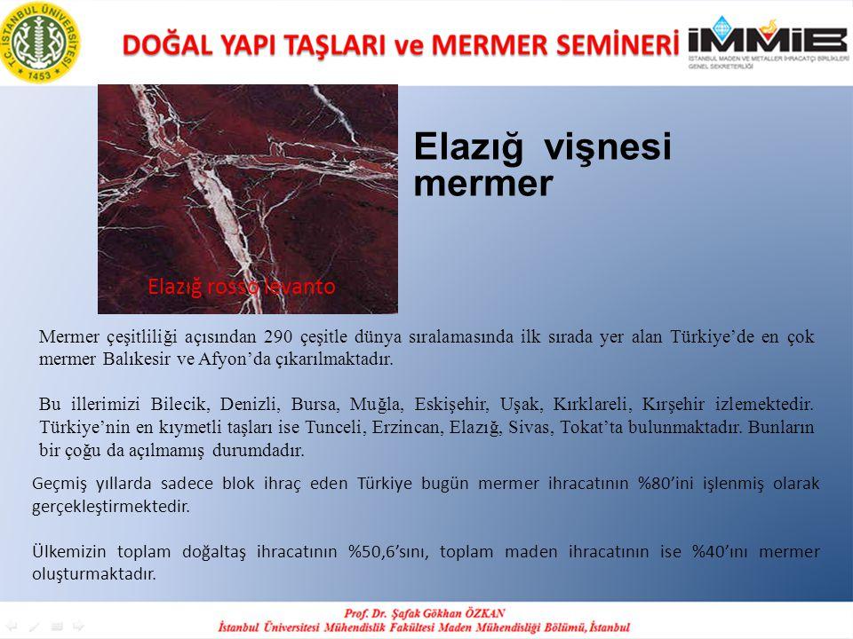 Elazığ rosso levanto Elazığ vişnesi mermer Mermer çeşitliliği açısından 290 çeşitle dünya sıralamasında ilk sırada yer alan Türkiye'de en çok mermer B