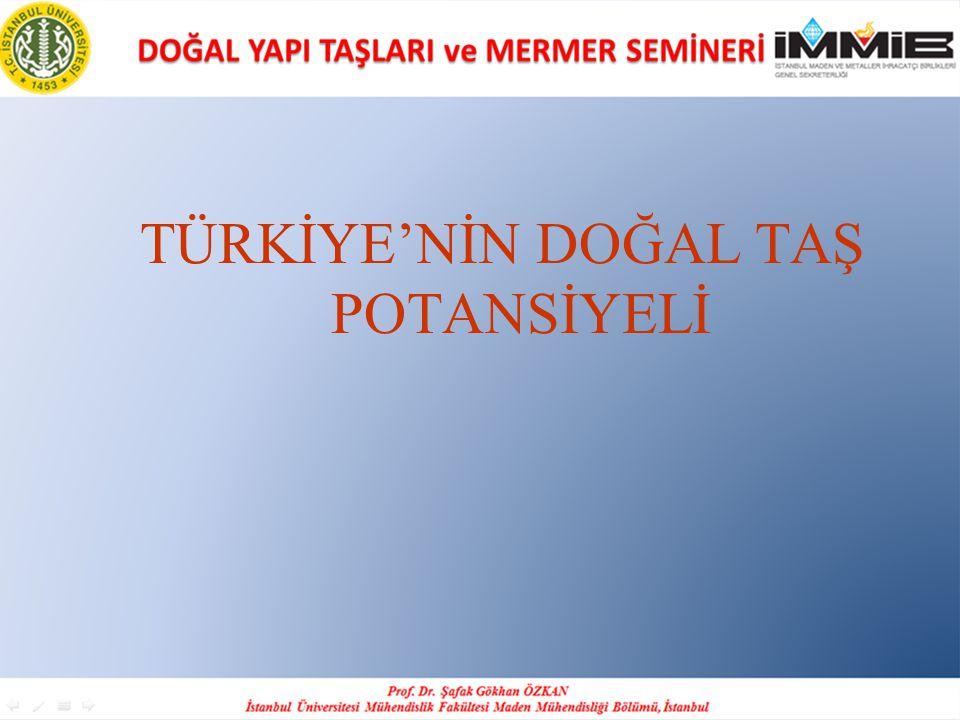 Türkiye doğal taş rezervine ilişkin ilk değerlendirmeler 1966 yılında MTA Genel Müdürlüğü tarafından yapılmış ve yaklaşık 5x10^9 m3 olarak belirlenmiştir.