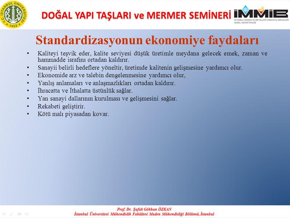 Standardizasyonun ekonomiye faydaları •Kaliteyi teşvik eder, kalite seviyesi düşük üretimle meydana gelecek emek, zaman ve hammadde israfını ortadan k
