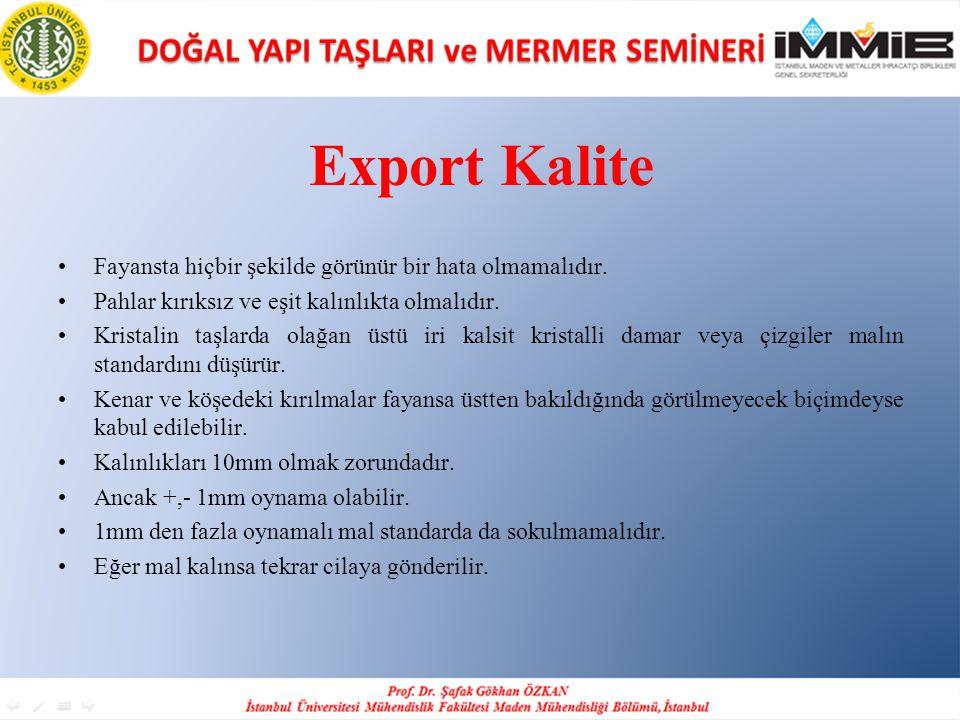 Export Kalite •Fayansta hiçbir şekilde görünür bir hata olmamalıdır. •Pahlar kırıksız ve eşit kalınlıkta olmalıdır. •Kristalin taşlarda olağan üstü ir
