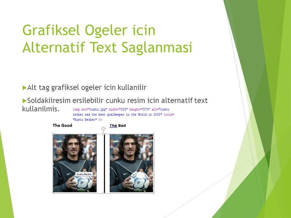 Grafiksel Ogeler icin Alternatif Text Saglanmasi  Alt tag grafiksel ogeler icin kullanilir  Soldakiiresim ersilebilir cunku resim icin alternatif te