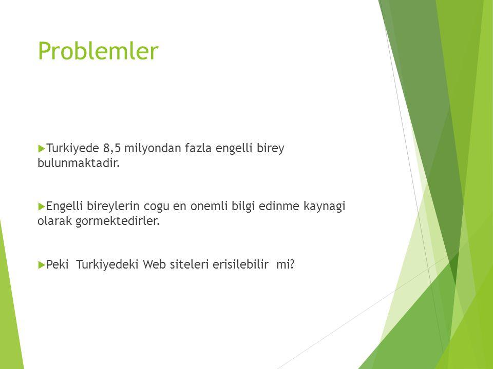 Problemler  Turkiyede 8,5 milyondan fazla engelli birey bulunmaktadir.  Engelli bireylerin cogu en onemli bilgi edinme kaynagi olarak gormektedirler