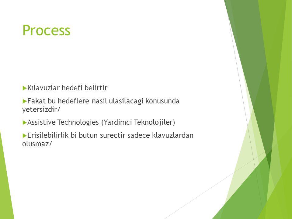 Process  Kılavuzlar hedefi belirtir  Fakat bu hedeflere nasil ulasilacagi konusunda yetersizdir/  Assistive Technologies (Yardimci Teknolojiler) 