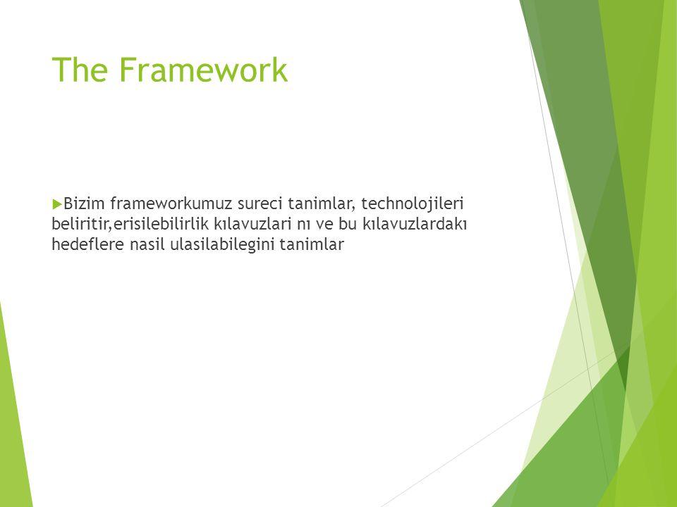 The Framework  Bizim frameworkumuz sureci tanimlar, technolojileri beliritir,erisilebilirlik kılavuzlari nı ve bu kılavuzlardakı hedeflere nasil ulas