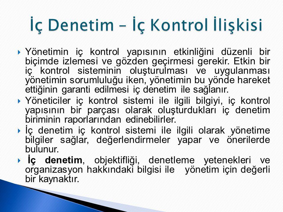  Yönetimin iç kontrol yapısının etkinliğini düzenli bir biçimde izlemesi ve gözden geçirmesi gerekir. Etkin bir iç kontrol sisteminin oluşturulması v