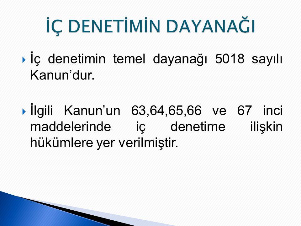  İç denetimin temel dayanağı 5018 sayılı Kanun'dur.  İlgili Kanun'un 63,64,65,66 ve 67 inci maddelerinde iç denetime ilişkin hükümlere yer verilmişt