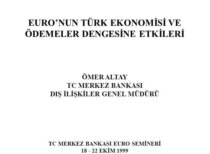 EURO'NUN TÜRK EKONOMİSİ VE ÖDEMELER DENGESİNE ETKİLERİ ÖMER ALTAY TC MERKEZ BANKASI DIŞ İLİŞKİLER GENEL MÜDÜRÜ TC MERKEZ BANKASI EURO SEMİNERİ 18 - 22