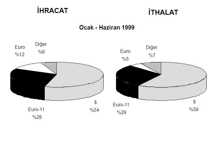 İHRACAT İTHALAT Ocak - Haziran 1999 $ %54 Euro-11 %28 Euro %12 Diğer %6 $ %59 Euro-11 %29 Euro %5 Diğer %7