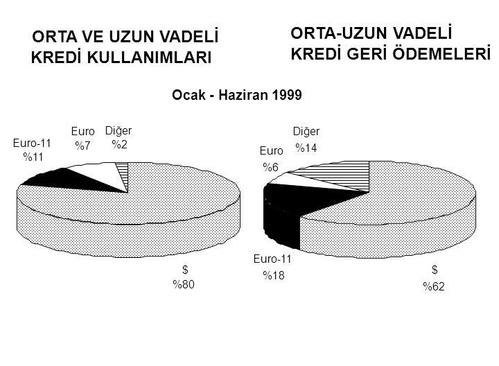 KREDİ KULLANIMLARI KREDİ GERİ ÖDEMELERİ ORTA VE UZUN VADELİ ORTA-UZUN VADELİ Ocak - Haziran 1999 $ %80 Euro-11 %11 Euro %7 Diğer %2 $ %62 Euro-11 %18