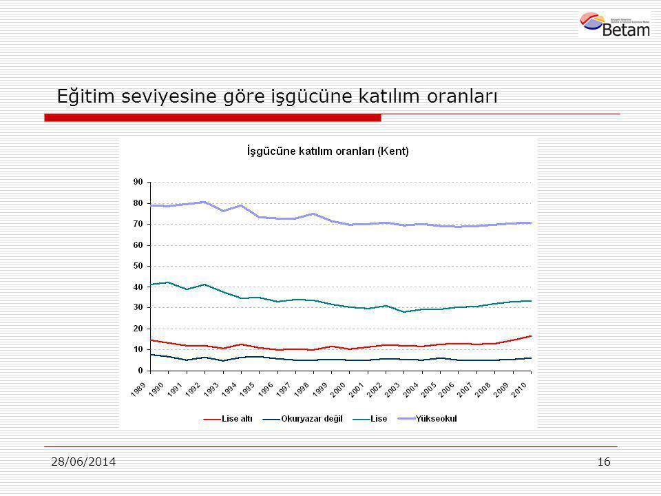 28/06/201416 Eğitim seviyesine göre işgücüne katılım oranları