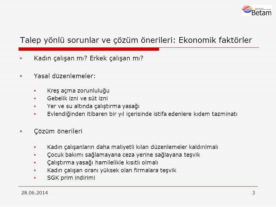 Talep yönlü sorunlar ve çözüm önerileri: Ekonomik faktörler • Kadın çalışan mı? Erkek çalışan mı? • Yasal düzenlemeler: • Kreş açma zorunluluğu • Gebe