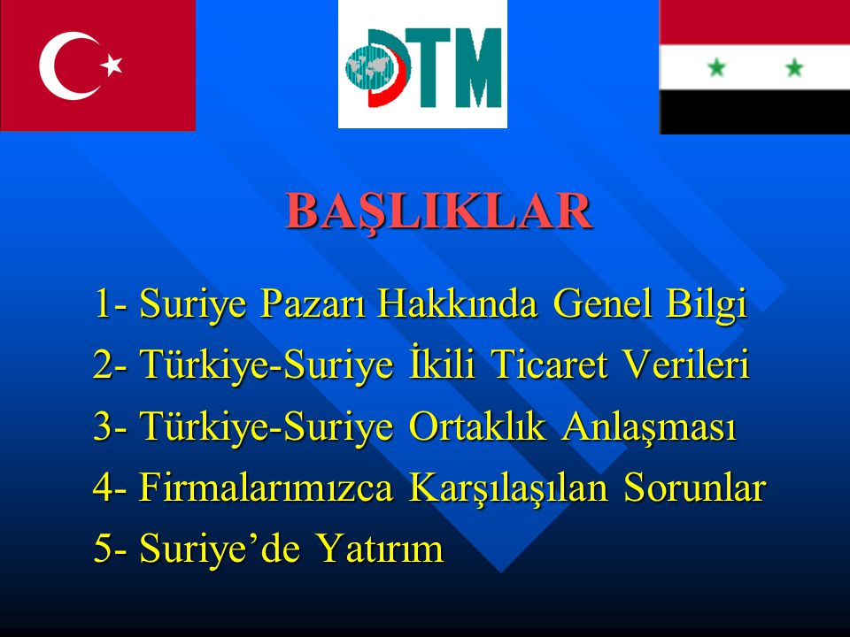 Yatırımların Karşılıklı Teşviki ve Korunması Anlaşması Türkiye-Suriye Arasındaki Ekonomik ve Ticari İlişkilerin Hukuki Temeli Anlaşmanın İmza Tarihi 06/01/2004 Karar Sayısı : 2005/9777 Yürürlük Tarihi 03/01/2006
