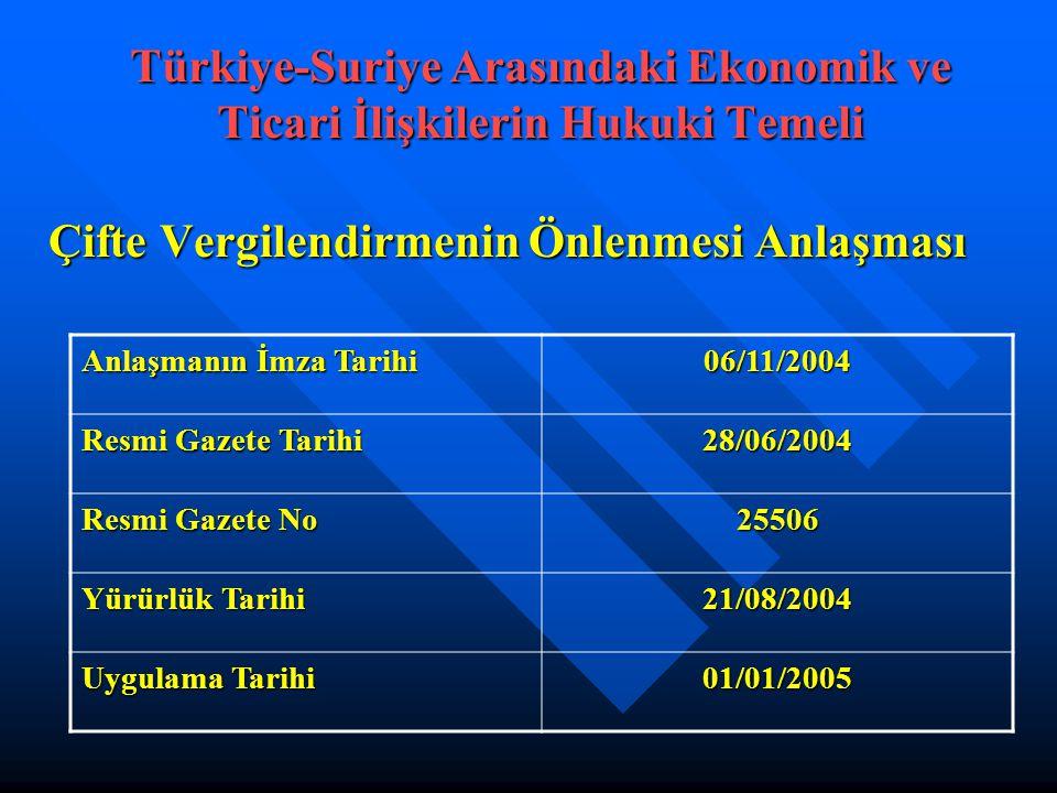 Çifte Vergilendirmenin Önlenmesi Anlaşması Türkiye-Suriye Arasındaki Ekonomik ve Ticari İlişkilerin Hukuki Temeli Anlaşmanın İmza Tarihi 06/11/2004 Resmi Gazete Tarihi 28/06/2004 Resmi Gazete No 25506 Yürürlük Tarihi 21/08/2004 Uygulama Tarihi 01/01/2005