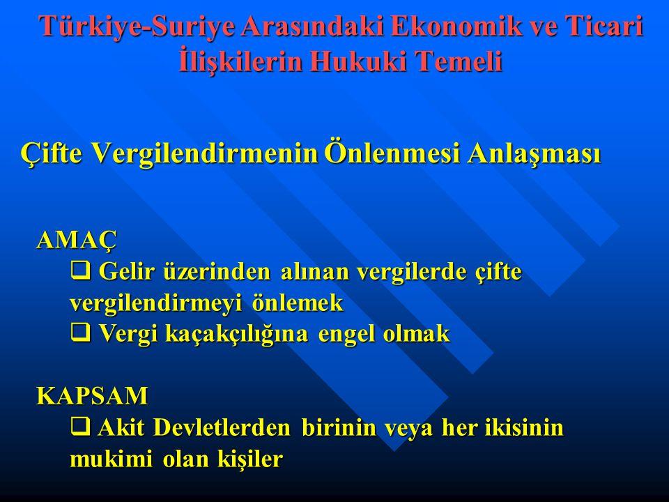 Çifte Vergilendirmenin Önlenmesi Anlaşması Türkiye-Suriye Arasındaki Ekonomik ve Ticari İlişkilerin Hukuki Temeli AMAÇ  Gelir üzerinden alınan vergilerde çifte vergilendirmeyi önlemek  Vergi kaçakçılığına engel olmak KAPSAM  Akit Devletlerden birinin veya her ikisinin mukimi olan kişiler