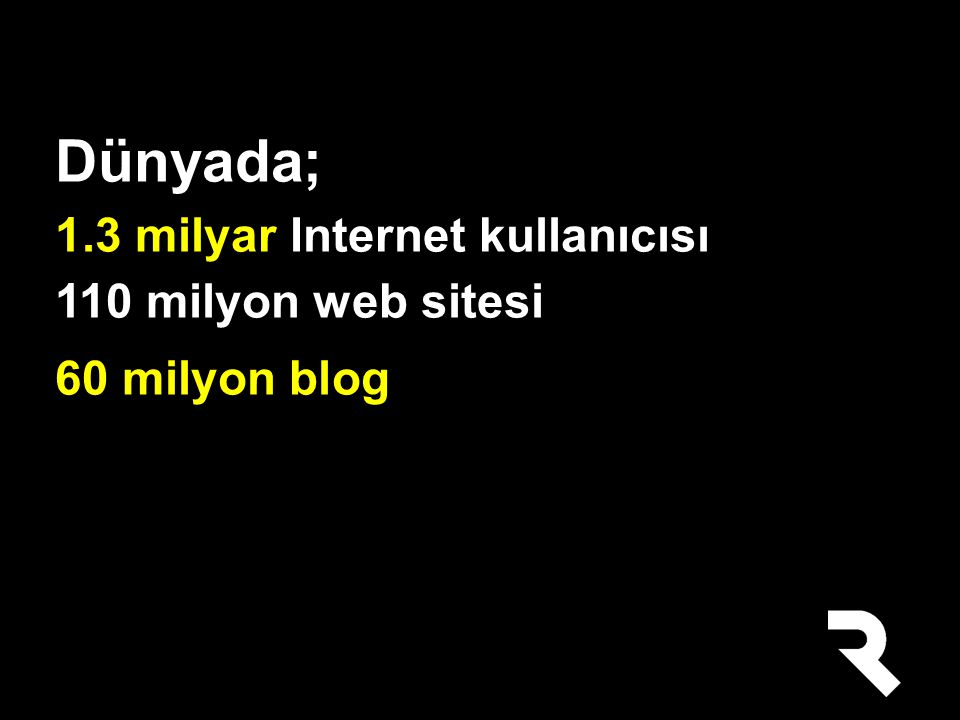 Dünyada; 1.3 milyar Internet kullanıcısı 110 milyon web sitesi 60 milyon blog