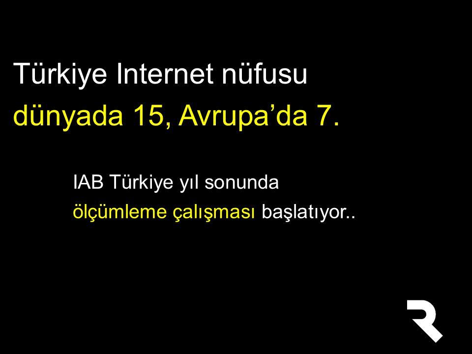 Türkiye Internet nüfusu dünyada 15, Avrupa'da 7.