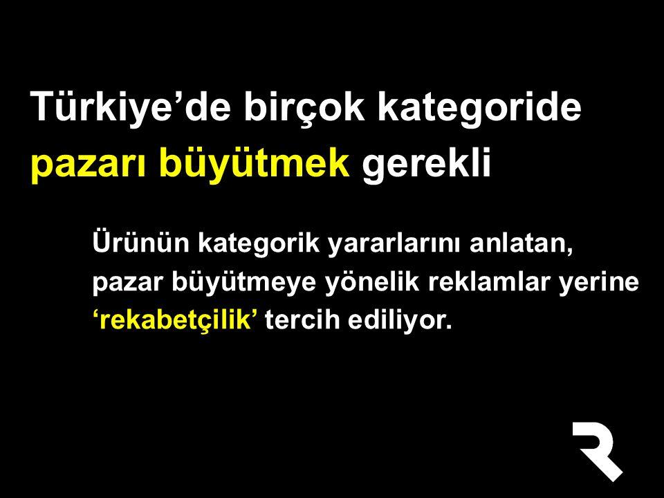 Türkiye'de birçok kategoride pazarı büyütmek gerekli Ürünün kategorik yararlarını anlatan, pazar büyütmeye yönelik reklamlar yerine 'rekabetçilik' tercih ediliyor.