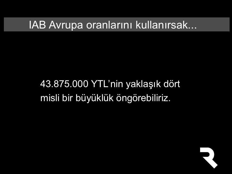 IAB Avrupa oranlarını kullanırsak...