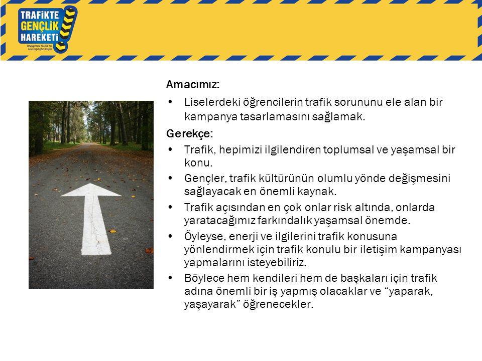Amacımız: •Liselerdeki öğrencilerin trafik sorununu ele alan bir kampanya tasarlamasını sağlamak. Gerekçe: •Trafik, hepimizi ilgilendiren toplumsal ve